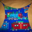 throw or lap quilt trains on tan flannel backing handmade 62 x 46