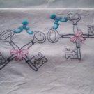 embroidered skeleton keys soft white flour sack dish towel 32 x 36 tea towel