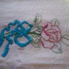 rose embroidered soft white flour sack 32 x 36 dish towel tea towel