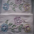 embroidered pillowcases roses standard size handmade