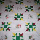 baby quilt turkey tracks and turtles handmade embroidered 57 w  by 55 inches