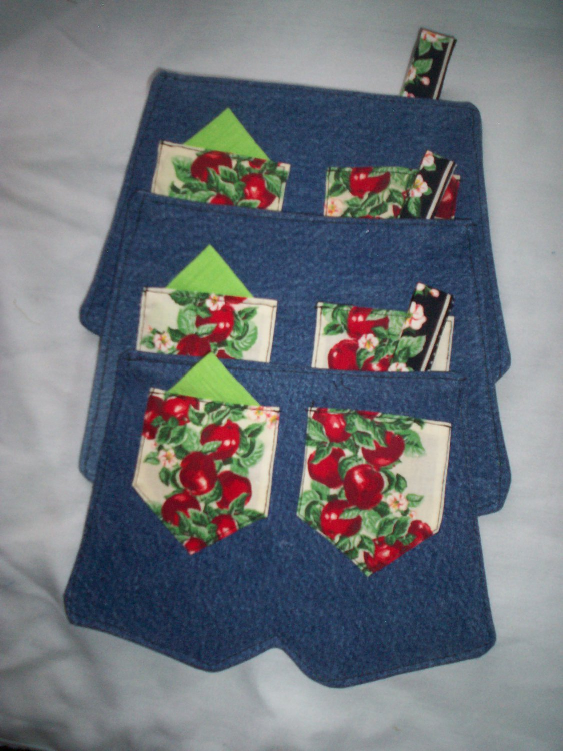 set of 3 handcrafted blue jean hot pads apple blossom to apples pockets handmade