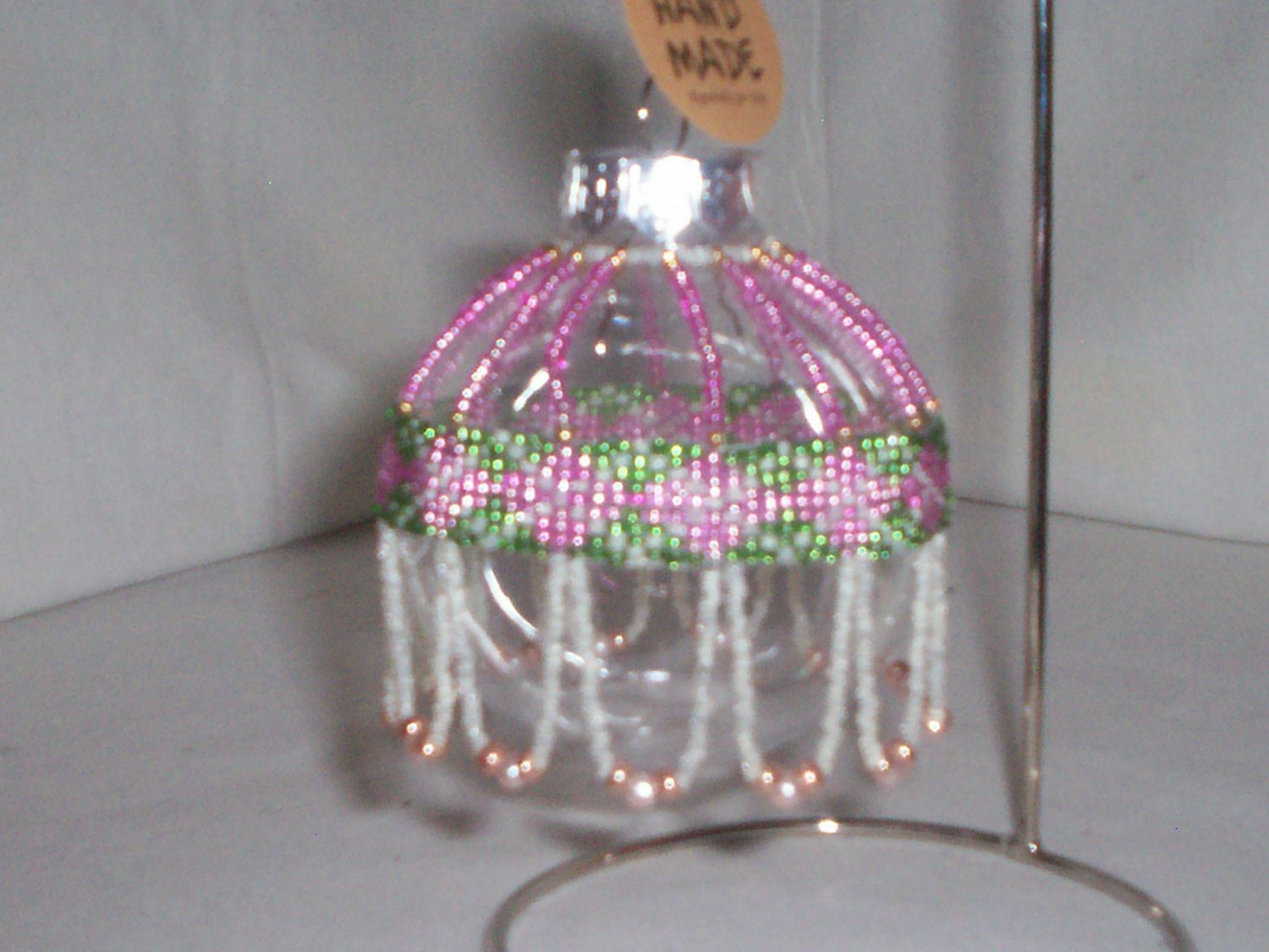 set of 6 beaded clear Christmas ornaments handmade bauble charm decoration item 24
