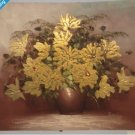 Gracious Gold Floral Painting 16 1/2 X 13