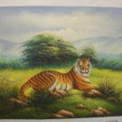 """An Original Oil Painting """"Tiger in the Grass"""" by Artist K. Harrison"""