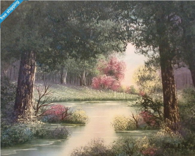 """ORIGINAL OIL PAINTING - """"FOREST LAKE"""" BY BETTY L. WALT"""""""