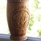 Wooden Hand Carved Mortar Large Decorative Collectible Wood Art Excellent Cond