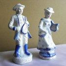 Blue Cobalt White & Gold 2 Porcelain Figures of Musicians Lyre Mandolin RARE
