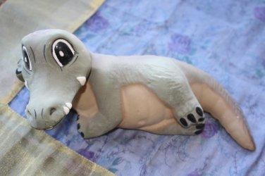 "Very Funny and Kind Resting Ceramic Crocodile 10"" Handmade Children Room Decor"