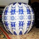 "Antique Porcelain China Large Bowl Blue Cobalt White Mandarin Shape Rare 8"" x 9"""