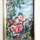 "Vintage Antique Tapestry Lovers Scene Wall Plaque w/ Wooden Frame 16.5"" x 13"""