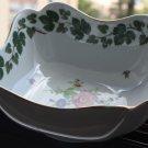 Vintage Hutschenreuther Floral Porcelain Square Serving Bowl Gold Rim Germany