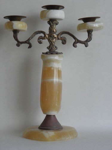 Antique Heavy Bronze / Copper / Brass 3 arm Candle Holder with Alabaster Rare