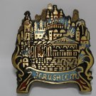 VINTAGE SOLID BRONZE ENAMEL JUDAICA JERUSALEM FOOTED NAPKIN HOLDER ILAN Marked