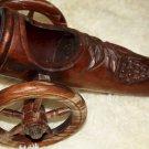 Large Vintage Hand Carved Wooden Cannon BOTTLE HOLDER Decor Excellent RARE