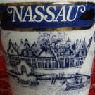 Nassau De Kuyper Blue Cobalt on White Glass Bottle  Empty Collectable Rare