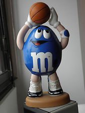"LARGE BLUE BASKETBALL PLAYER M&M CANDY DISPENSER! Collectable 13 "" Tall Blue"