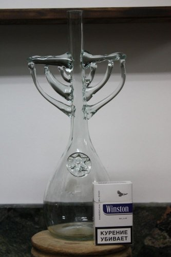 Hanukkia shape handmade clear glass wine / whiskey decanter / figural bottle