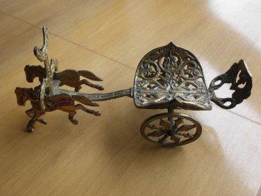 Vintage Greek Roman Horse Warrior Chariot Brass Wine Bottle Holder JERUSALEM
