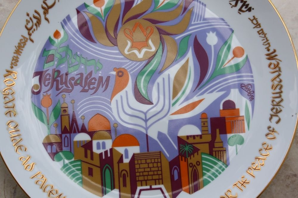 1978 Pray for the Peace of Jerusalem Israel Wall Plate Naaman Porcelain by Katz