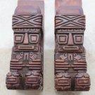 Antique Aztek Maya Hand Carved Book Ends Wood Wooden Art Heavy Excellent Rare