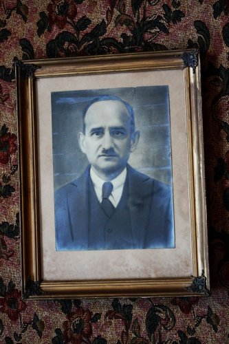 """Antique Man Photo in Gilded Wooden Frame Glass and Ornate Brass Corners 17"""""""