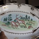 "Amazing Vintage Hand Painted Soviet USSR Big Plate Tray 16"" w/ Gold Excellent !!"
