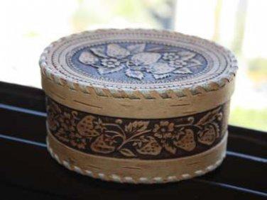 Vintage Russian Beautiful Birch Bark Trinket Jewelry Box Beresta Strawberry Rare