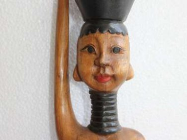 """Wood Hand Carved Nude Tribal Female Erotic Figurine Gorgeous Wooden Art 21"""" RARE"""