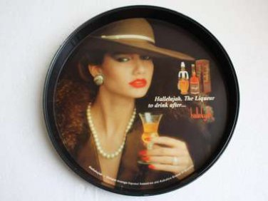 """Tin Advertising Tray, Hallelujah, The Liqueur to drink after 12"""" diameter rare"""