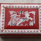 """Old Vintage Silver Tooled and Painted Red Leather Jewelry Trinket Box 9"""" Rare"""