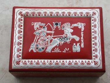 "Old Vintage Silver Tooled and Painted Red Leather Jewelry Trinket Box 9"" Rare"