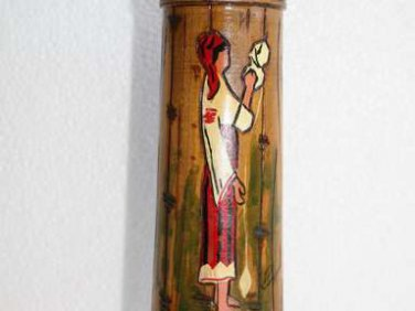 Wooden Beer Stein Hand Carved and Painted Decorative Romanian Wood Folk Art 9""