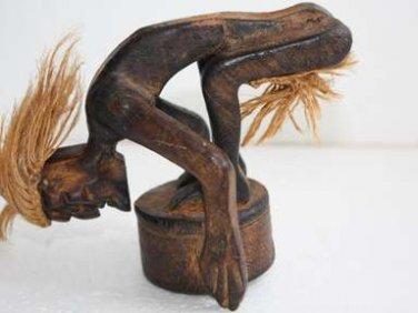 "Vintage Hand Carved Wooden Ashtray Tarzan Figurine Primitive Home Decor Rare 5"""