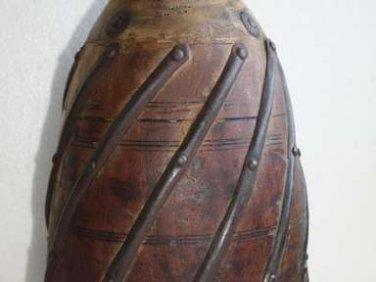 1900's Indian Antique Wooden Hand Craved Decorative Reclaimed Pot Vase Rustic