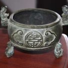 Antique Chinese Bronze Ashtray Pot Jar Burner Marked Gorgeous Collectible Rare