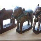 Lot of 3 India Antique Wooden Toy Animals Original Patina c.19th Century Rare