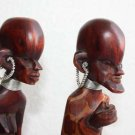 "Pair Of Tribal Wooden Art African Figurines Man And Woman 12"" Wood Handpainted"
