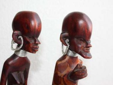 """Pair Of Tribal Wooden Art African Figurines Man And Woman 12"""" Wood Handpainted"""