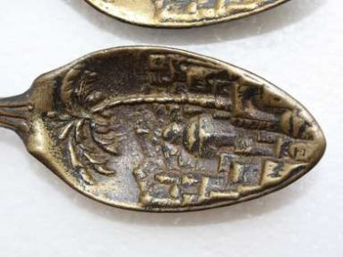 Pair of Antique Jerusalem Bronze Spoon Wall Hanging Large and Heavy Holy Land IL