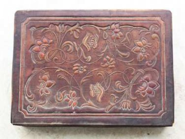 """Antique Tooled and Painted Brown Thin Leather Jewelry Trinket Box 9"""" Rare"""