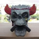"Vintage Large Resin Evil Dead Skull Ashtray Skeleton Head Statue Home Decor 8"""