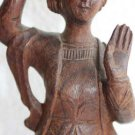 Vintage Wooden Sculpture Figurine Of Asian Indonesian Woman Hand Carved Wood 8""