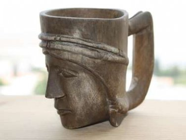 Antique Wooden Mug with Tribal Face Hand Carved Solid Wood Large Collectible