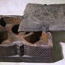 Antique India Rosewood Square Leaf Spice Box Samruddhi Keralan Museum Quality