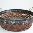 Vintage Straw Woven Bowl Mesh Basket with Iron Rim and Wooden Handles Home Decor
