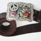 "Vintage Massive Thick Leather NOCONA Belt with Swarovski Crystals Buckle 51"""