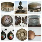 Copper Brass Bronze Pewter Metal Bowl Planter Jug Tray Old Vintage Antique Ra