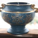 Awesome Blue with Gold Ceramic Pottery Pot Jar Bowl Handled Home Decoration 24cm