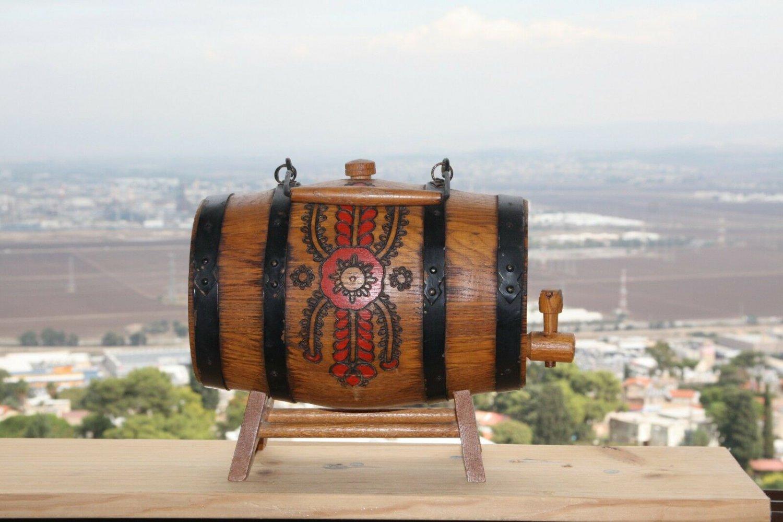Old Vintage Wooden 4 Iron Banded Brandy Whiskey Keg Cask Barrel Flask on Stand